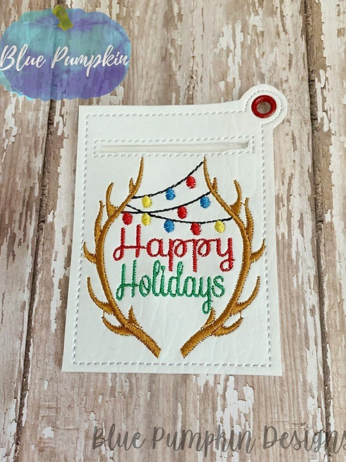 Happy Holiday Antlers Gift Card Holder