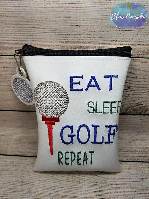Eat Sleep Golf TEE ITH Zipper Bag Design
