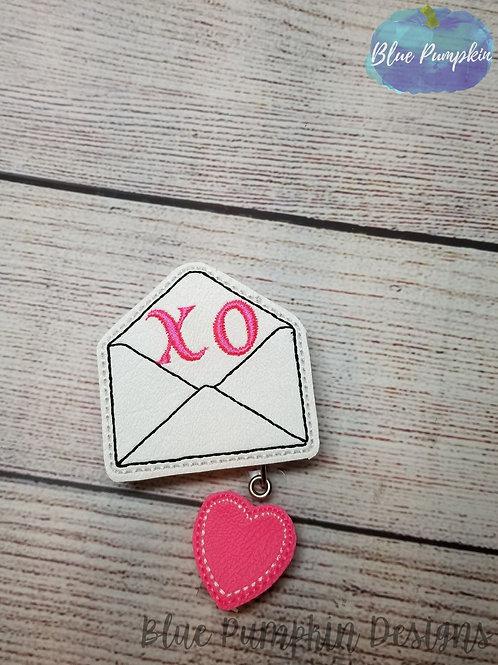 Envelope XO Badge Reel Feltie Design