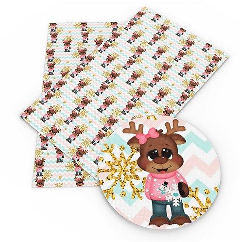 Dressed up Girl Reindeer  Embroidery Vinyl