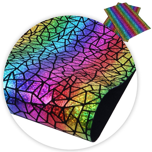 Black Cracked Stain Glass Embroidery Vinyl