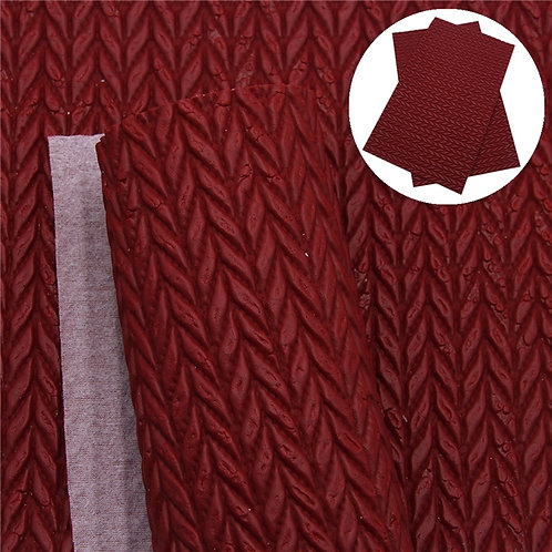 Crimson Cable Knit  Embroidery Vinyl