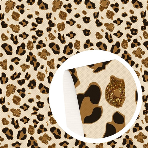Animal Print w Faux Glitter Printed Embroidery Vinyl