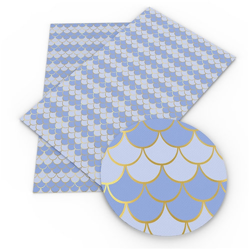 Lt Dk Blue with Gold outline Mermaid Scales Embroidery Vinyl