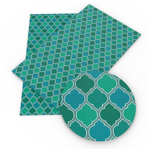Blue Greens Variegated Mosaic  Embroidery Vinyl