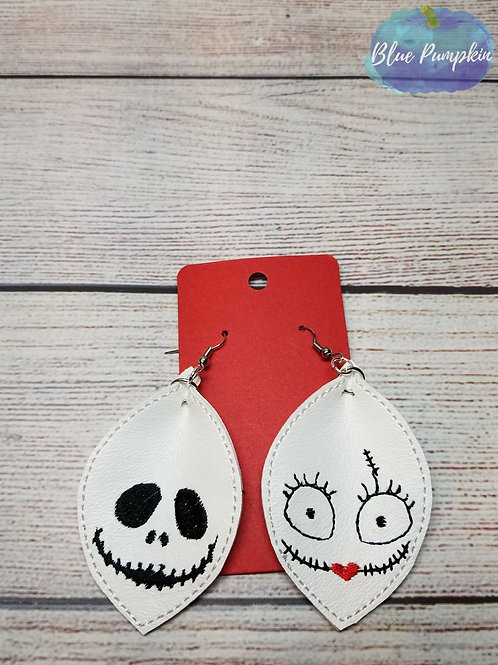 Pinched Oval Jack & Sally Earrings