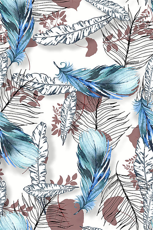 Blue Feather Embroidery Vinyl