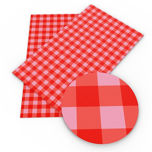 Pink and Red Plaid Embroidery Vinyl