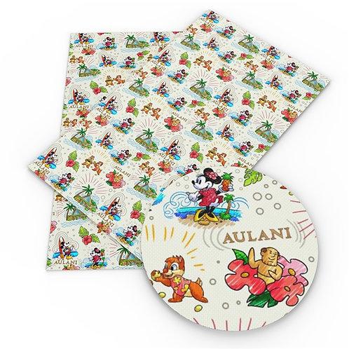 Hawaiian Mouse w flowers Embroidery Vinyl
