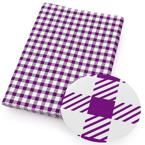 Checks Purple and White Plaid Print Embroidery Vinyl