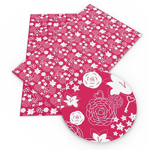 Pinky Red Flowers, Hearts and Key Embroidery Vinyl