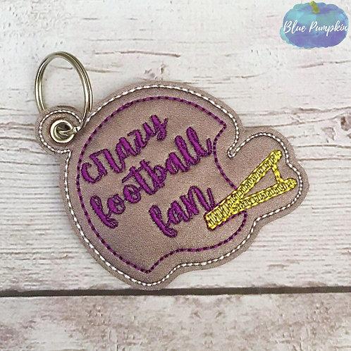 Crazy Football Fan Eyelet Key Fob