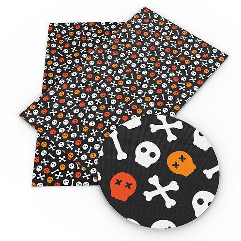 Orange Skulls and cross bones Embroidery Vinyl