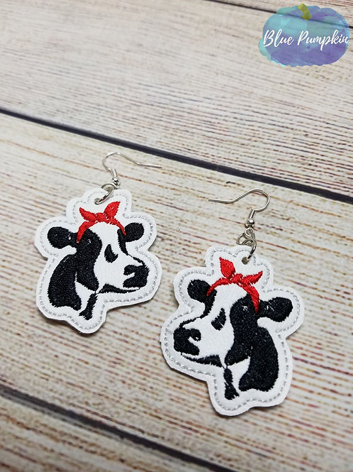 Cow with Bandanna Earrings