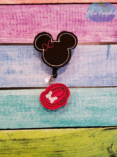 Girl Mouse Badge Reel Feltie Design