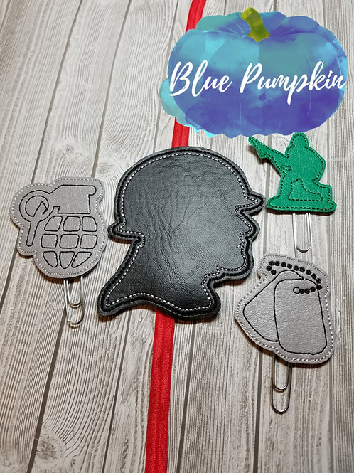 Military Paper clip Toppers and Planner Band SET
