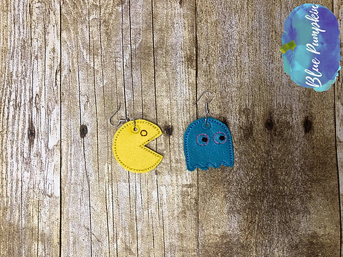 Pacman and Ghostie ITH Earring Design