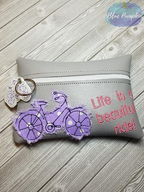 5x7 Shabby Chic Bike ITH Zipper Bag Design