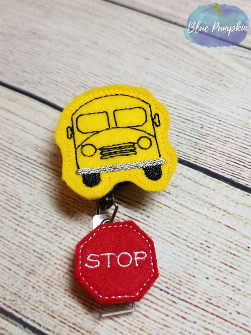 School Bus Badge Reel Feltie Design