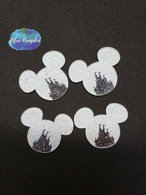 Mouse head with glitter kingdom cutout Flatback