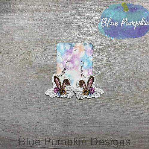 Bunny Ear w Flowers Earrings