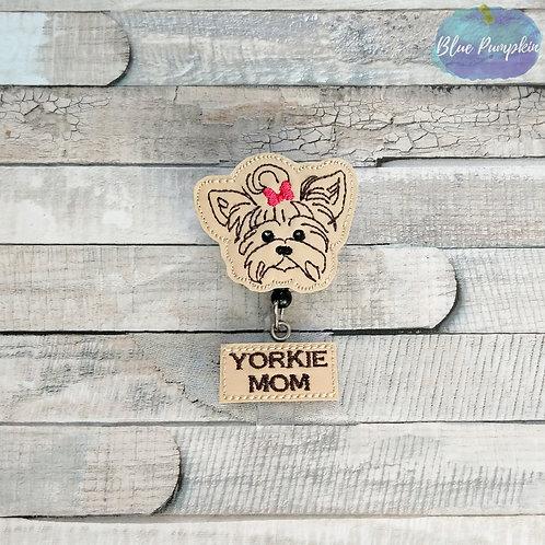 Yorkie Mom Badge Reel Feltie Design