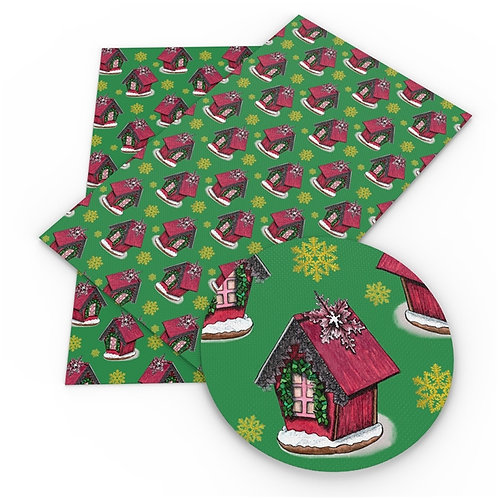 Gingerbread Houses Printed Embroidery Vinyl