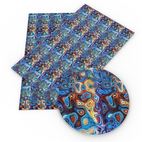 Blue Geo Swirl Printed Embroidery Vinyl