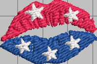 Red White and Blue Lips with Stars Designs
