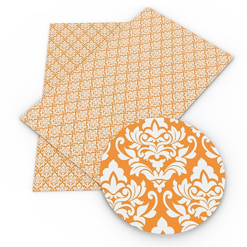Orange Damaskish Embroidery Vinyl