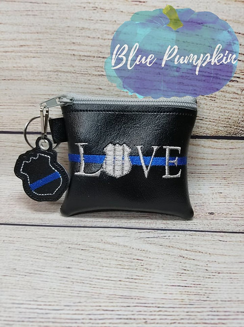 4x4 Love Police Badge ITH Zipper Bag Design