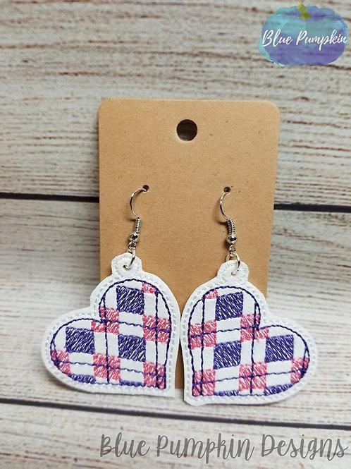 Plaid Heart Earrings