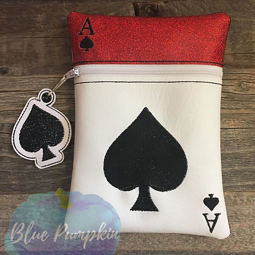 Ace of Spades Playing Card ITH Zipper Bag Design