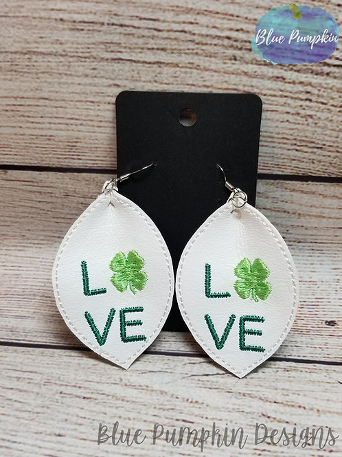 Pinched Ovals LOVE Clovers Earrings
