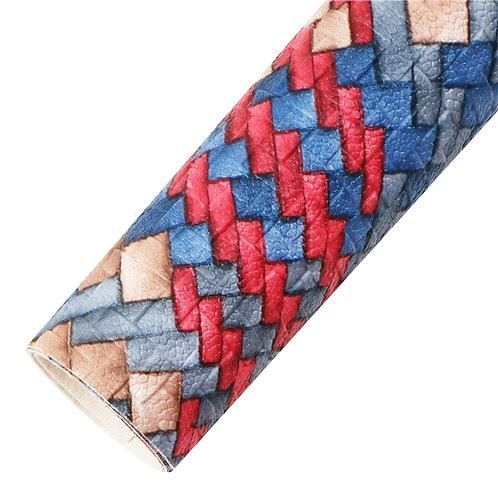 Blue Red Tan WEAVE Embroidery Vinyl