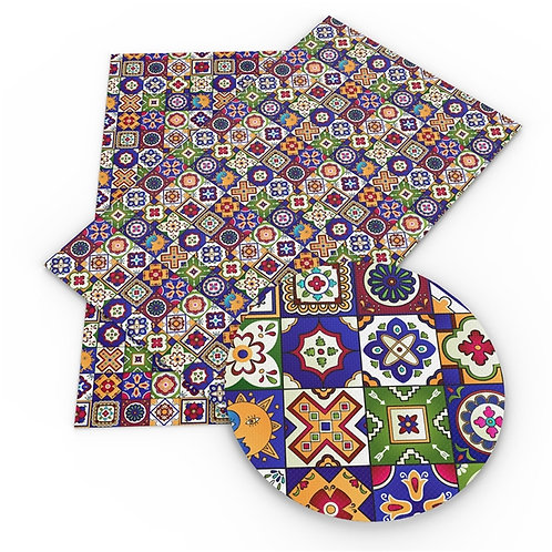 Colorful Pottery Squares  Printed Embroidery Vinyl