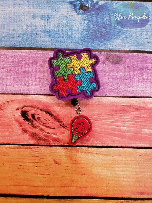 Autism Awareness Badge Reel Feltie Design