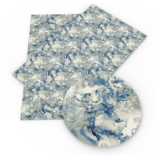 Blue Marble with swirls Printed Embroidery Vinyl