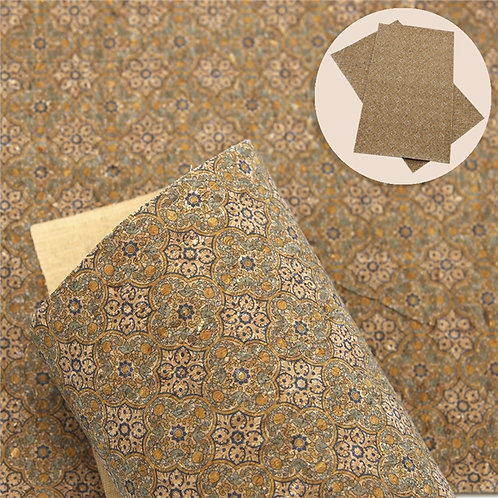 Blue and Green Trefoil deco THin Printed Cork Embroidery Vinyl