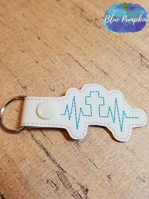 Cross Heartbeat Key Fob
