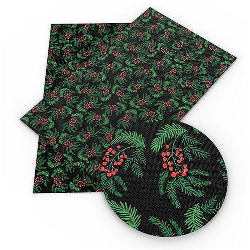 Dark Boughs of Holly Printed Embroidery Vinyl