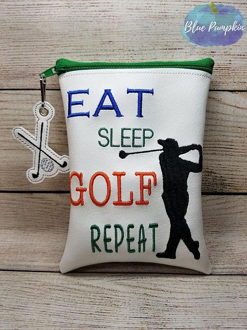 Eat Sleep Golf ITH Zipper Bag Design