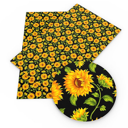 Black with Sunflowers Printed Embroidery Vinyl