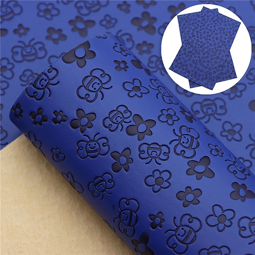 Blue with bee embossed Embroidery Vinyl