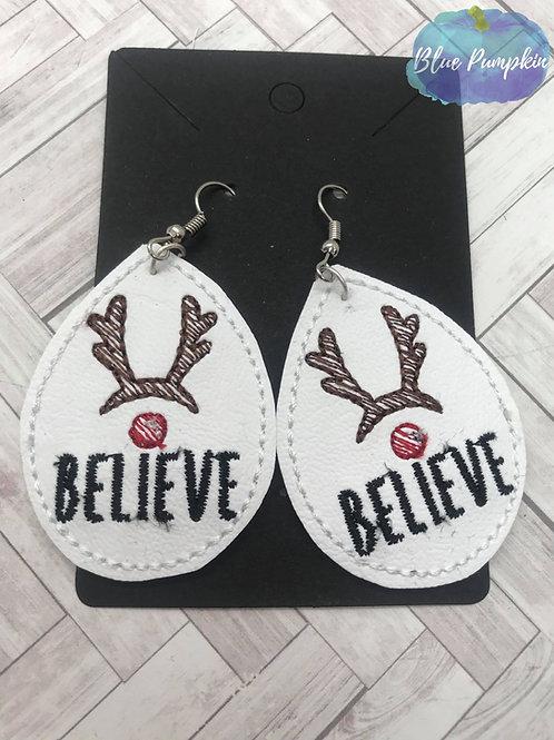 Oval Believe Reindeer Earrings