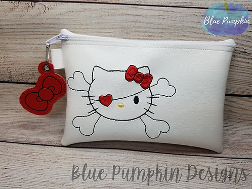 Simple Pirate Kitty ITH Zipper Bag Design