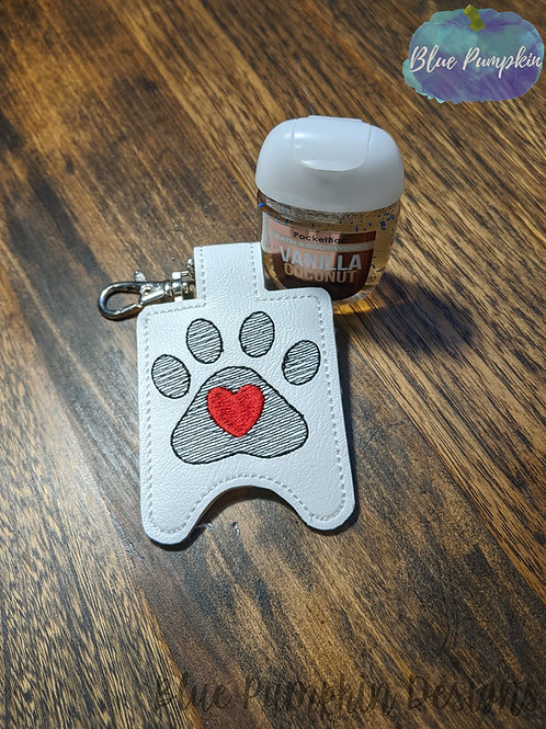 Paw Print with Heart Hand Sani Holder