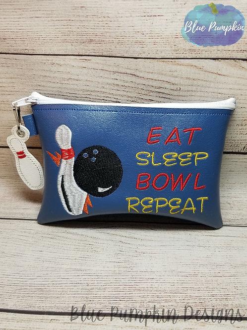 Eat Sleep Bowl Repeat Bag ITH Zipper Bag Design