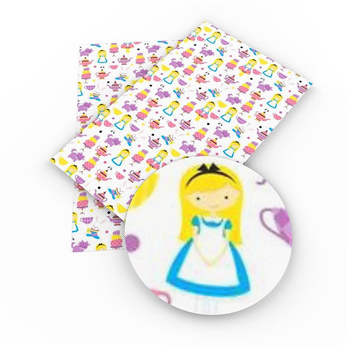 Alice with Cat and Rabbit  Printed Embroidery Vinyl