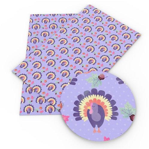 Purple with Turkeys Embroidery Vinyl